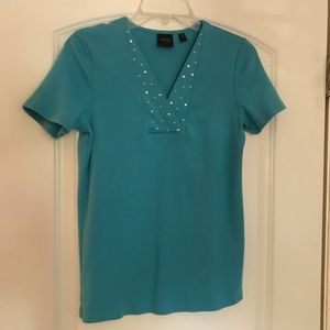 Blue v-neck shirt